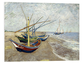 PVC-tavla  Fishing Boats on the Beach at Saintes-Maries - Vincent van Gogh