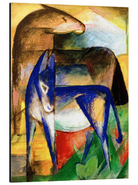 Aluminiumtavla  Two blue donkeys - Franz Marc