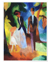 Premiumposter  People at the blue lake - August Macke