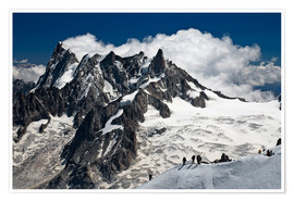 Premiumposter  Mont Blanc Massif and mountaineer, France - Frauke Scholz