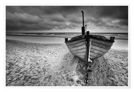 Premiumposter Boot am Meer monochrome