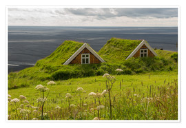 Premiumposter  Traditional Houses in the Skaftafell National Park, Iceland - Markus Ulrich