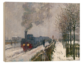 Trätavla  Train in the snow (The Locomotive) - Claude Monet