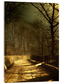 Akrylglastavla  A Moonlit Lane, with two lovers by a gate - John Atkinson Grimshaw