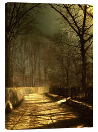 Canvastavla  A Moonlit Lane, with two lovers by a gate - John Atkinson Grimshaw
