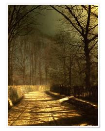 Premiumposter A Moonlit Lane, with two lovers by a gate
