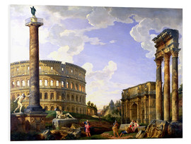 PVC-tavla  Roman Capriccio Showing the Colosseum - Giovanni Paolo Pannini