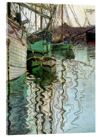 Akrylglastavla  The port at Trieste - Egon Schiele