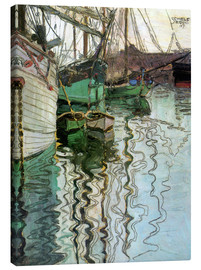 Canvastavla  Harbor of Trieste - Egon Schiele