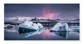 Premiumposter  Eisebergs at Icelands Glacier Lagoon - Andreas Wonisch