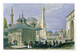 Premiumposter  Fountain and Square of St. Sophia, Istanbul - William Henry Bartlett