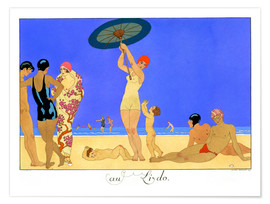 Premiumposter  At the Lido, engraved by Henri Reidel, 1920 - Georges Barbier