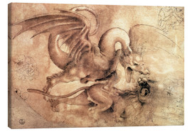 Canvastavla  Fight between a Dragon and a Lion - Leonardo da Vinci