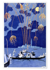 Premiumposter  Fireworks in Venice, Fetes Galantes - Georges Barbier