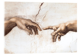 Akrylglastavla  Creation of Adam (detail of hands) - Michelangelo