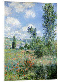 Akrylglastavla  Path Through the Poppies, Île Saint-Martin, Vetheuil - Claude Monet