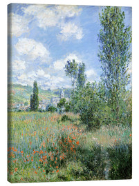 Canvastavla  Path Through the Poppies, Île Saint-Martin, Vetheuil - Claude Monet