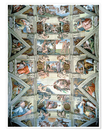 Poster  Sistine Chapel ceiling and lunettes - Michelangelo
