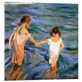 Akrylglastavla  Girls in the sea - Joaquin Sorolla y Bastida