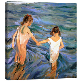 Canvastavla  Girls in the sea - Joaquín Sorolla y Bastida