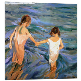 PVC-tavla  Girls in the sea - Joaquín Sorolla y Bastida