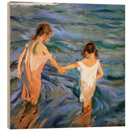 Trätavla  Girls in the sea - Joaquín Sorolla y Bastida