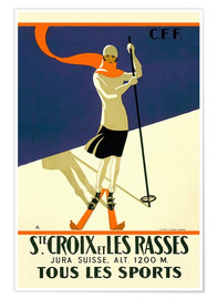 Premiumposter  Skiing in Sainte-Croix - Travel Collection