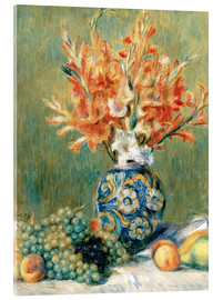 Akrylglastavla  Still Life with Fruit and Flowers - Pierre-Auguste Renoir