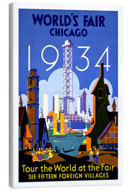 Canvastavla  Chicago - Worlds Fair 1934 - Travel Collection