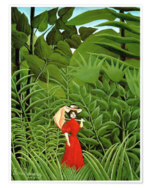Premiumposter Woman in red in forest