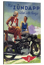 Aluminiumtavla  With Zündapp over the hills (German) - Advertising Collection
