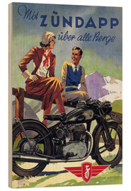 Trätavla  With Zündapp over the hills (German) - Advertising Collection