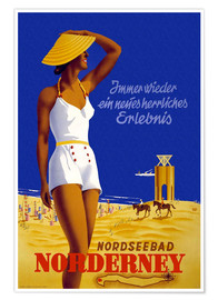 Premiumposter  North Sea bath on Norderney - Travel Collection