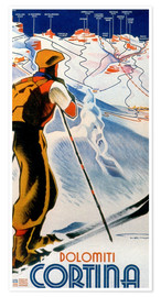Premiumposter  Skiing in Cortina, Dolomites - Travel Collection