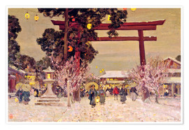 Premiumposter  Vy över Shinto Shrine, c.1889 - Sir Alfred East