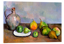 Akrylglastavla  Pitcher and Fruit - Paul Cézanne