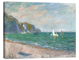 Canvastavla  Boats under the cliffs of Pourville - Claude Monet