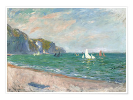 Premiumposter  Boats under the cliffs of Pourville - Claude Monet
