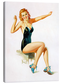 Canvastavla  Pin Up - Seated Redhead in Swimsuit - Al Buell