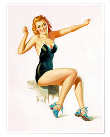 Premiumposter  Pin Up - Seated Redhead in Swimsuit - Al Buell