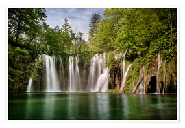 Premiumposter  Paradise Waterfall in Plitvice - Andreas Wonisch