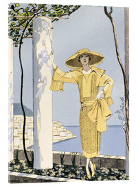Akrylglastavla  Amalfi, illustration of a woman in yellow dress, 1922 - Georges Barbier