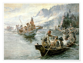 Premiumposter  Lewis & Clark på den lägre Columbia River, 1905 - Charles Marion Russell