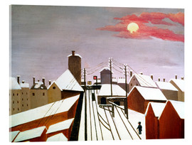 Akrylglastavla  The railroad - Henri Rousseau
