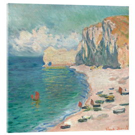 Akrylglastavla  Étretat, The Beach and the Falaise d'Amont - Claude Monet