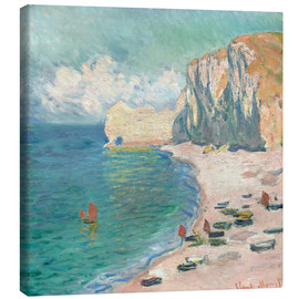 Canvastavla  Étretat, The Beach and the Falaise d'Amont - Claude Monet