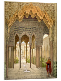 Akrylglastavla  The Court of the Lions, the Alhambra, Granada, 1853 - Léon Auguste Asselineau