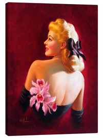 Canvastavla  Glamour Pin Up with Pink Orchids - Art Frahm