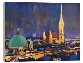 Trätavla  Vienna Skyline at Night with St Stephan - M. Bleichner