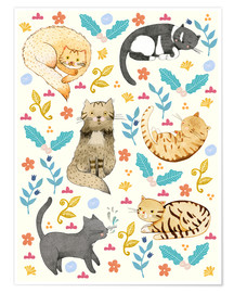 Premiumposter  Cat family II - Judith Loske